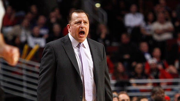 Chicago Bulls head coach Tom Thibodeau shouts out a play against the Toronto Raptors as the Raptors beat the Bulls 101-98 in an NBA basketball game on Tuesday, April 9, 2013 in Chicago. (AP Photo/Charles Cherney)