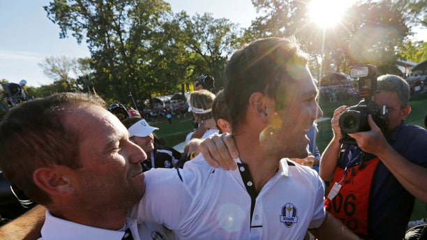 Sept. 30, 2012: Europe's Martin Kaymer celebrates with Sergio Garcia after winning the Ryder Cup PGA golf tournament at the Medinah Country Club in Medinah, Ill.