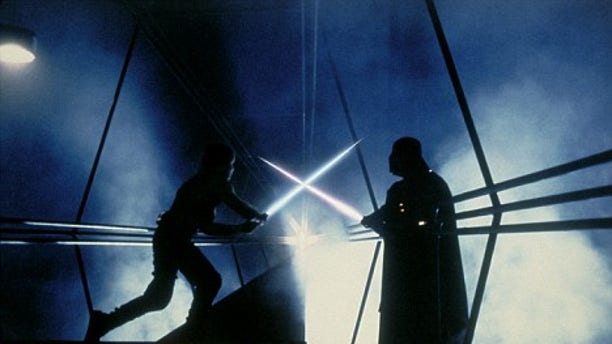Luke Skywalker engages in a perilous lightsaber duel with Darth Vader in 'Star Wars: Episode V The Empire Strikes Back.'