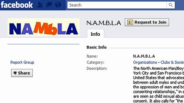 A North American Man/Boy Love Association page on the Facebook social-networking website.