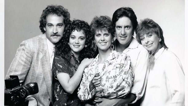 """Rebecca Schaeffer (second left) with her """"My Sister Sam"""" cast mates."""