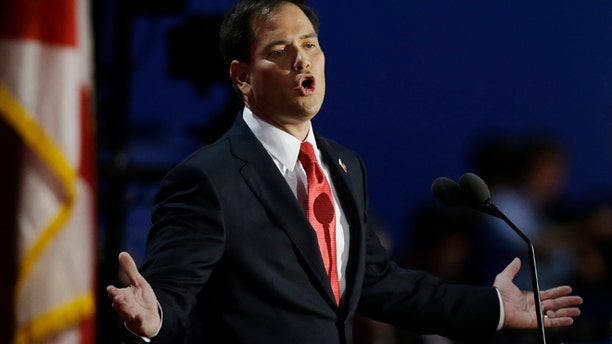 Aug. 30,. 2012: Florida Sen. Marco Rubio addresses delegates during the Republican National Convention in Tampa, Fla.