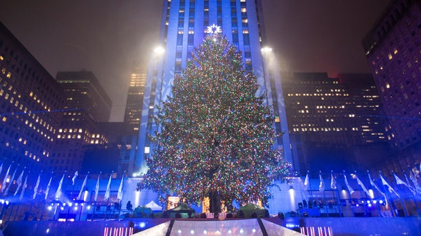 The Christmas tree stands lit after the lighting ceremony for the 84th annual Rockefeller Center Christmas Tree at  Rockefeller Center in Manhattan, New York City, U.S., November 30, 2016.  REUTERS/Alex Wroblewski - RTSU471