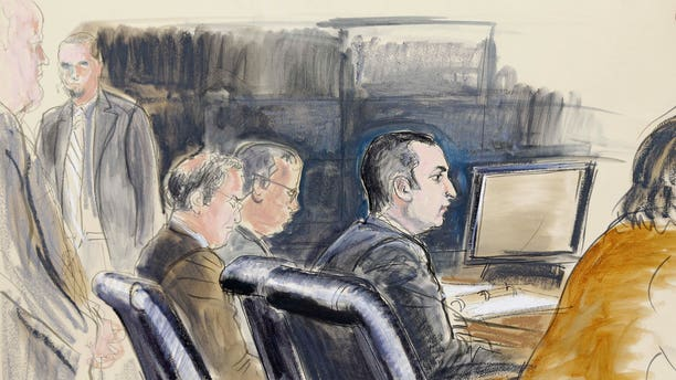Feb. 25, 2013: In this courtroom sketch, former New York City Police Officer Gilberto Valle, second right, is seated at federal court in New York.