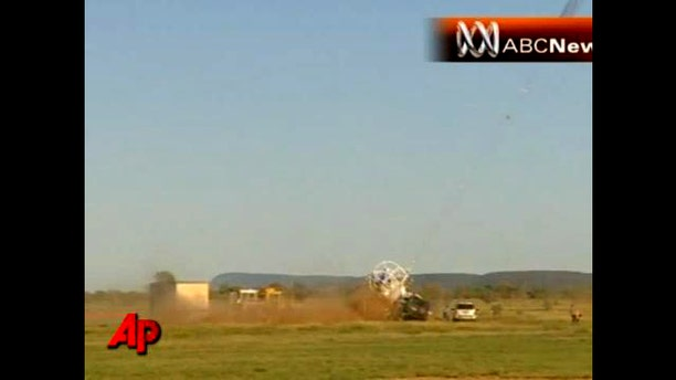 April 29: The launch of a giant space balloon went badly wrong on Thursday in the Australian Outback when a heavy payload of scientific equipment broke from its mooring slamming into a vehicle and narrowly missing bystanders.