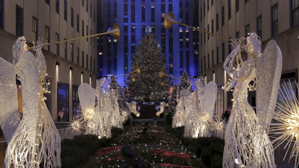 Holiday lights on the Rockefeller Center Christmas Tree in New York City