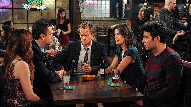 "Alyson Hannigan as Lily, Jason Segel  as Marshall, Neil Patrick Harris as Barney, Cobie Smulders as Robin, Josh Radnor as Ted, on ""How I Met Your Mother."""