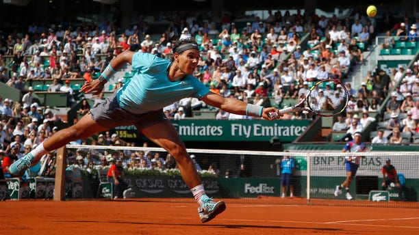 Nadal against Leonardo Mayer at the Roland Garros stadium, in Paris, France, May 31, 2014.
