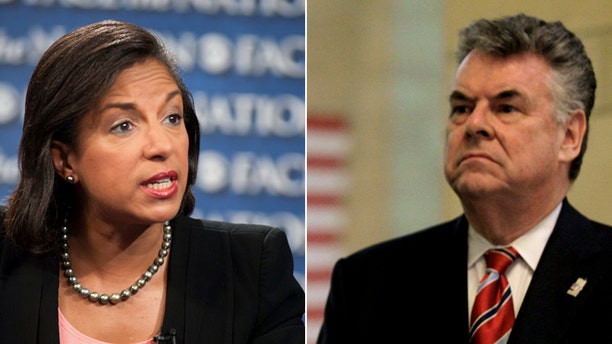 U.S. Ambassador to the U.N. Susan Rice, right, and U.S. Rep. Peter King, R-N.Y., left