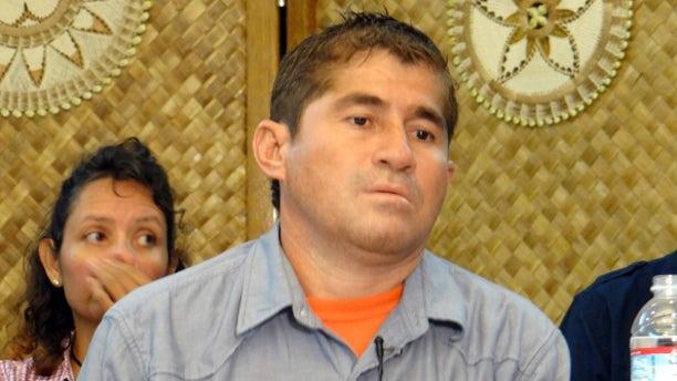 Jose Salvador Alvarenga of El Salvador attends a press conference in Majuro on February 6, 2014.
