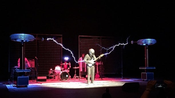 "ArcAttack performed with their ""singing"" Tesla coils on April 23, 2016, at the Smithsonian magazine's ""Future Is Here"" festival."