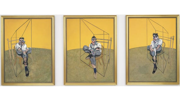 "This undated photo provided by Christie's shows ""Three Studies of Lucian Freud,"" a triptych by Francis Bacon of his friend and artist Lucian Freud. The painting was sold for $142.4 million to an unidentified buyer Tuesday, making it the most expensive painting ever sold at auction  (AP Photo/Christie's)"