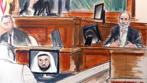 In this March 19, 2014 courtroom sketch Osama bin Laden's son-in-law, Sulaiman Abu Ghaith, right, testifies at his trial in New York, on charges he conspired to kill Americans and aid Al Qaeda as a spokesman for the terrorist group. (AP)