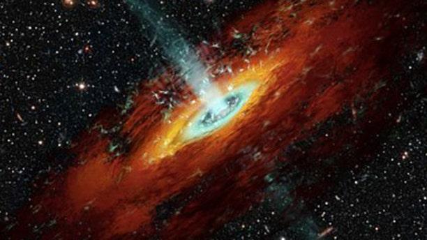An artist's illustration of a black hole.
