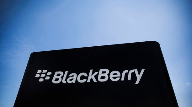 The Blackberry sign is pictured in Waterloo June 19, 2014. BlackBerry Ltd posted a narrower-than-expected loss as the troubled smartphone maker's turnaround efforts started to pay off, raising hopes its chief executive can deliver on a pledge to return the company to steady profits. REUTERS/Mark Blinch (CANADA - Tags: BUSINESS TELECOMS LOGO) - RTR3UP2H
