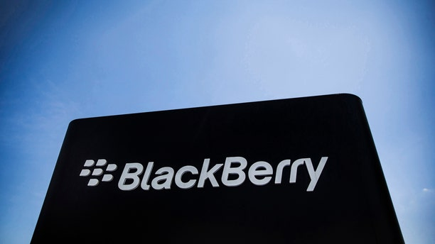 The Blackberry sign is pictured in Waterloo June 19, 2014.