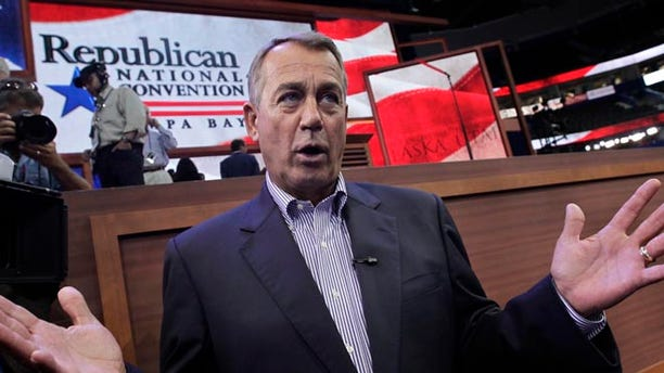 FILE: Aug. 27, 2012: House Speaker John Boehner of Ohio, at the Republican National Convention in Tampa, Fla.