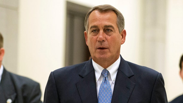 FILE: June 6, 2013: House Speaker John Boehner, Ohio, walks to a news conference on Capitol Hill in Washington, D.C.