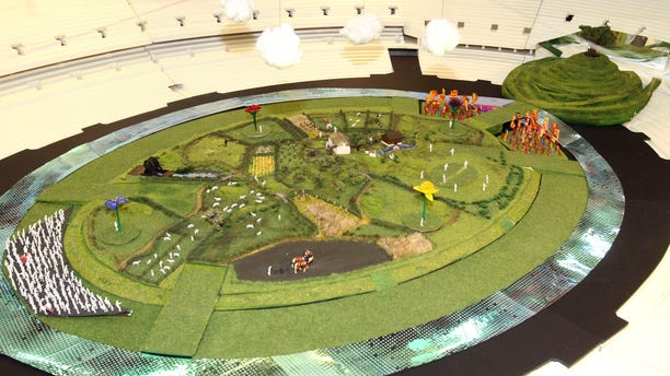 June 12, 2012:  This photo released by the Olympic Organising Committee LOCOG, shows a model of the rural English scene which will be the center piece for the London 2012 Olympic Games Opening Ceremony.