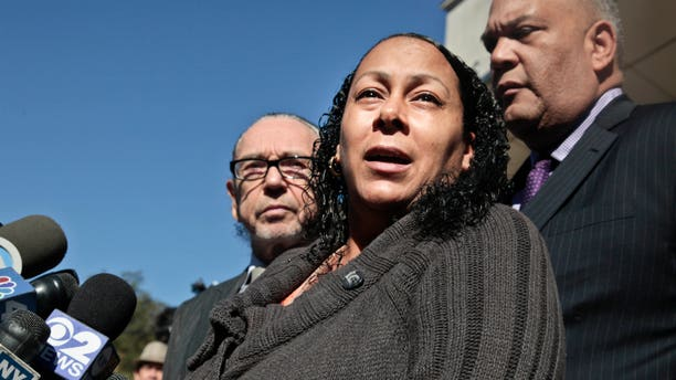 Cecilia Reyes, the mother of an unarmed National Guardsman who was fatally shot during a traffic stop, speaks during a press conference on Thursday, Oct. 11, 2012 in New York.