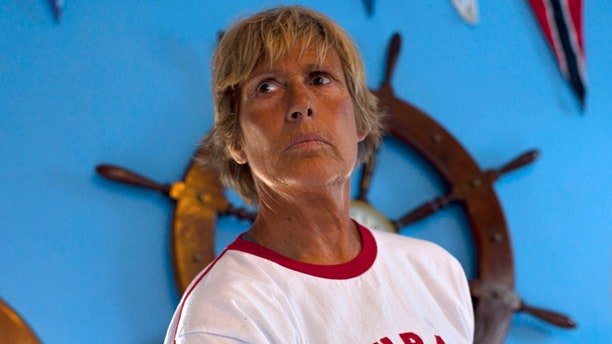 Aug. 18, 2012: U.S. swimmer Diana Nyad stands after a press conference where she announced her upcoming swim from Cuba to Key West, Florida, in Havana, Cuba.