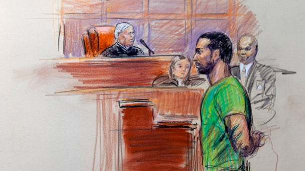 Feb. 17: This artist rendering shows Amine El Khalifi before U.S. District Judge T. Rawles Jones Jr. in federal court in Alexandria, Va.