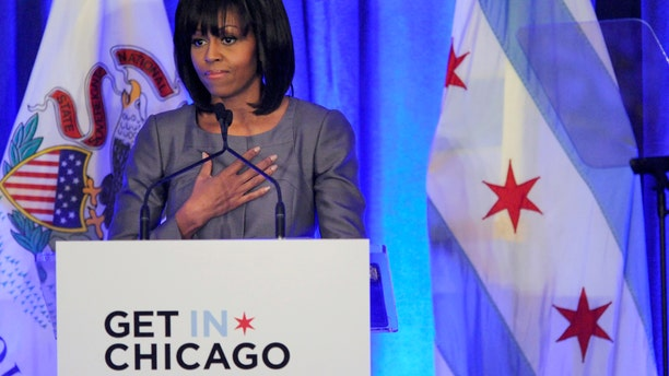 April 10, 2013: First lady Michelle Obama speaks about 15 year-old Hadiya Pendleton who was shot and killed on the south side of Chicago earlier this year, during a luncheon at the Chicago Hilton in Chicago.
