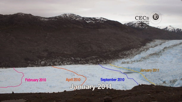 """This photo grab taken form a video released by the private organization """"Centro de Estudios Cientificos"""", CECs, shows the retreat of the Jorge Montt glacier in Chile's Patagonia in a year period. The pink line shows where the glacier stood in Feb. 2010, the orange line shows where it stood in April 2010, the blue one where the glacier was in Sept. 2010, and the yellow one shows the glacier's limit in Jan. 2011."""