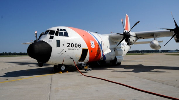 A Coast Guard C-130 Hercules airplane is prepped for a search and rescue patrol at Air Station Elizabeth City, Aug. 31, 2010. The crew of the C-130 broadcasted a warning message to boating and shipping traffic from the northern tip of New Jersey to the southern border of North Carolina.