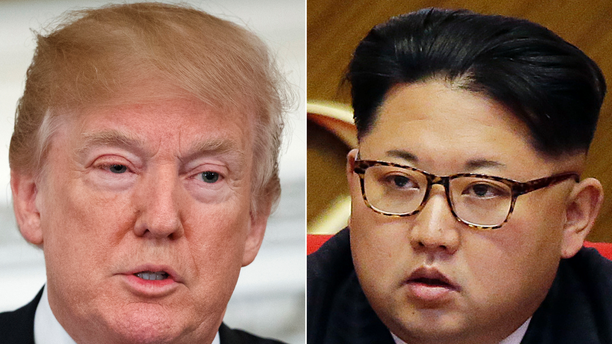 "FILE - This combination of two file photos shows U.S. President Donald Trump, left, speaking in the State Dining Room of the White House, in Washington on Feb. 26, 2018, and North Korean leader Kim Jong Un attending in the party congress in Pyongyang, North Korea on May 9, 2016. Kim Jong Un is ""Little Rocket Man"" no more. In the year since Donald Trump's searing, debut UN speech fueled fears of nuclear conflict with North Korea, the two leaders have turned from threats to flattery. But as the U.S. president readies his second address to the world body, likely in Kim's absence, he'll have to address the elephant in the room _ North Korea's continuing reluctance to disarm. (AP Photo/Evan Vucci, Wong Maye-E, File)"