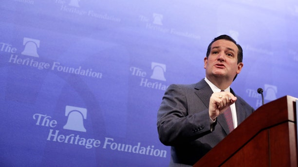 """WASHINGTON, DC - FEBRUARY 10:  U.S. Senator Ted Cruz (R-TX) addresses the Heritage Action for America's Conservative Policy Summit February 10, 2014 in Washington, DC. Sen. Cruz discussed the """"American Energy Renaissance Act"""" that he will introduce to the Senate soon. (Photo by Alex Wong/Getty Images)"""