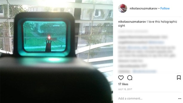 Pictures from Nikolas Cruz's Instagram page show his fascination for guns.