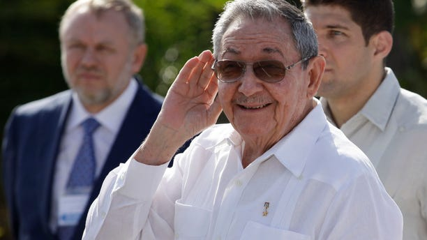 Feb. 22, 2013 - Cuba's President Raul Castro outside the Internationalist Soviet soldier mausoleum where he attended a tribute with the visiting Prime Minister of Russia, in Havana, Cuba.