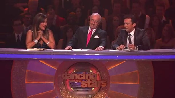 Dancing with the stars judges Carrie Ann Inaba (left), Len Goodman (center) and Bruno Tonioli (right) Monday night.