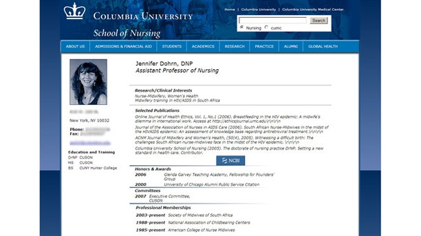 Jennifer Dohrn's listing on the online directory for Columbia University's School of Nursing where she is an assistant professor.