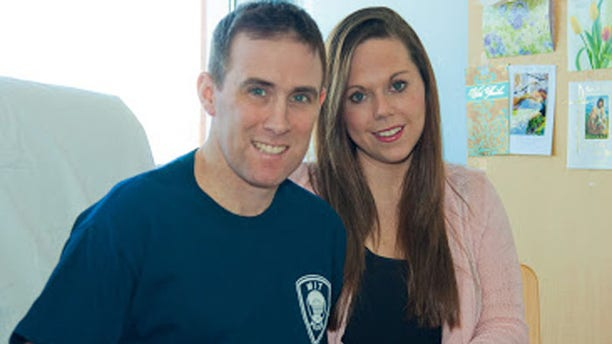 Richard Donohue, shown here with his wife, is recuperating after being severely injured in a gun battle with the Boston Marathon bombing suspects.