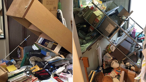 Damage inside a home in Osaka, Japan, after the earthquake struck.