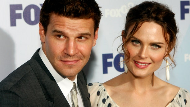 "Actor David Boreanaz and actress Emily Deschanel from the show ""Bones"" arrive at the Fox Upfront after-party at Wollman Rink in Central Park in New York City May 15, 2008."