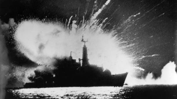 British Royal Navy frigate HMS Antelope explodes in the bay of San Carlos off East Falkland during the Falklands War.   (Photo by Martin Cleaver/Pool/Getty Images)