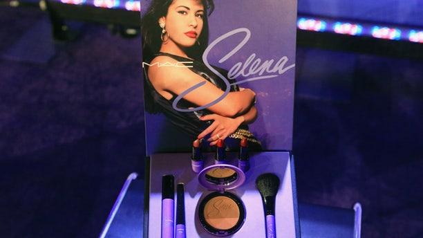 The MAC Selena makeup collection is displayed during a news conference at the American Bank Center in Corpus Christi, Texas.