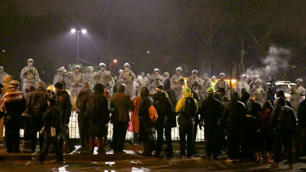 Nov. 26, 2014: Protesters gather near the Ferguson Police Department
