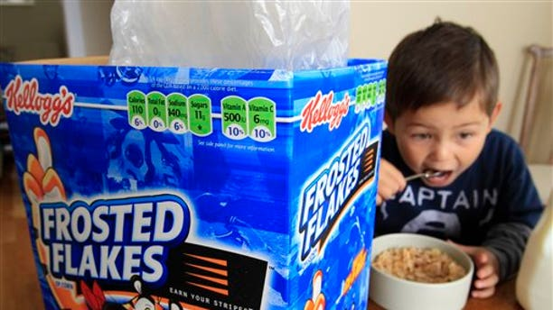 Government officials fine-tuning guidelines for marketing food to children say they won't push the food industry to get rid of colorful cartoon characters on cereal boxes anytime soon.