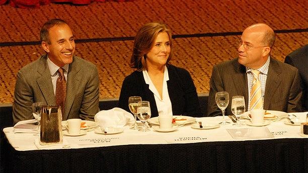 NEW YORK - OCTOBER 24:  Matt Lauer, Meredith Vieira and Jeff Zucker at the Friars Club roast of Matt Lauer at the New York Hilton on October 24, 2008 in New York City.  (Photo by Bobby Bank/WireImage)