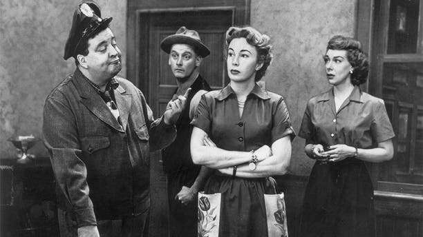 "Cast of the television series ""The Honeymooners"": Jackie Gleason, Art Carney, Audrey Meadows and Joyce Randolph."