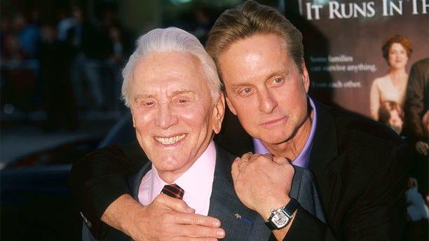 Kirk Douglas with his son, fellow actor Michael Douglas.