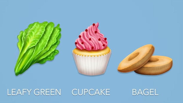 The latest emoji update will include several new food items, including a leafy green, cupcake and bagel.