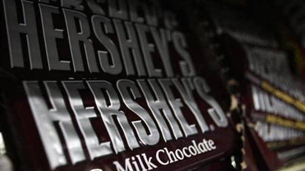 A pile of Hershey's chocolate bars.