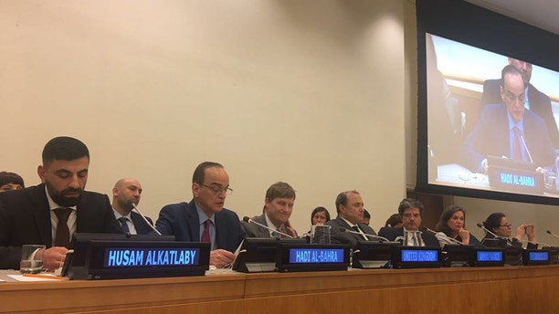 Hadi al-Bahra, who is a senior member of the negotiating team for the Syrian opposition, addresses an informal U.N. Security Council meeting Monday about what life was like for ordinary Syrians. (Syrian American Council)