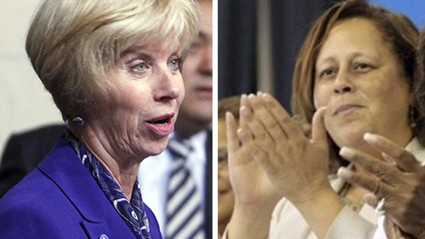 FILE: Rep Janice Hahn (left) and Rep. Laura Richardson.