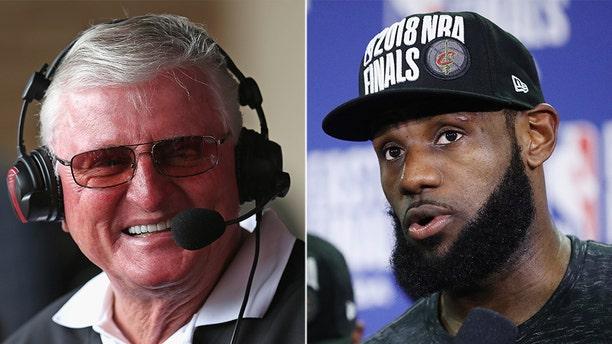 """""""Hawk"""" Harrelson, left, had comments about LeBron James' political activism."""